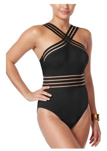 Kenneth Cole KENNETH COLE STOMPIN IN STILETTOS ISLLUSION STRIPED SWIM SUIT M BLACK