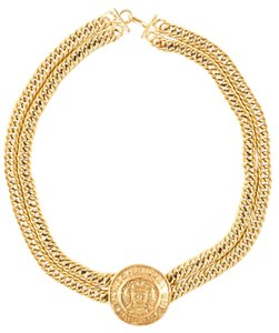 Chanel Chanel gold-tone double chain link medallion necklace