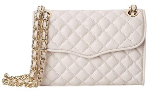 Rebecca Minkoff Leather Quilted Gold Print Cross Body Bag