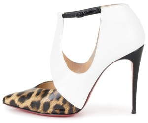 Christian Louboutin white & leopard Pumps