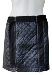 BCBGMAXAZRIA Faux Leather Quilted Pleather Zippers Mini Skirt Black