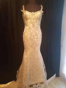 Sottero and Midgley Ivory/Silver Accent Over Light Gold Lace On Tulle Ettiene Formal Wedding Dress Size 8 (M)