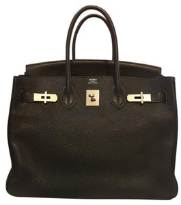 Hermès Birkin Togo Leather Silver Hardware Palladium Satchel in Black