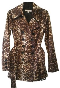 New York & Company Leopard Trench Lined Raincoat