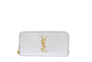 Saint Laurent Monogram Metallic Zip Around Wallet Floor Model