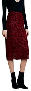 Free People Maxi Bohemian Burnout Velvet Stretchy Chic Fp Skirt Red