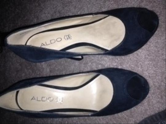 ALDO Suede Sexy All Seasons... Peep Toe Unique Heel Shape black Pumps