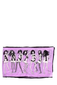 Anna Sui Purple and Black Silk Scarf With Placed Graphic Print