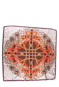 Rochas Brown Silk Square Scarf With Printed Graphic and Logo