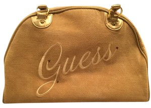 Guess Embroidered Rhinestone Velour Satchel in Gold