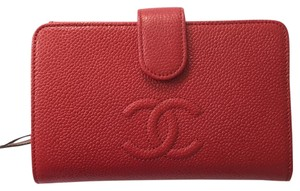 Chanel Red Chanel Caviar CC Classic Wallet
