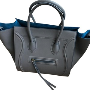 Céline Satchel in taupe with blue trim