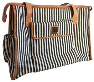 Dooney & Bourke & Stripes Leather Tote Blue, White Diaper Bag