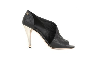 Chanel Peep Toe Leather Black Pumps