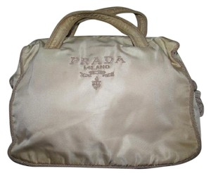 Prada Dressy Or Casual Timeless Style Lots Of Pockets/room Mint Condition Satchel in goldish-champagne colored nylon with silk corde/tassels and embroidered seed beads