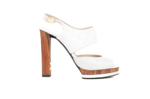 Chanel Leather Open Toe White Sandals