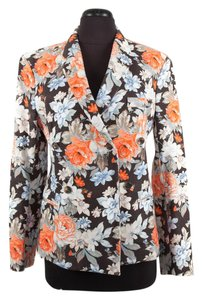 Cline Floral Cotton Orange & Black Blazer