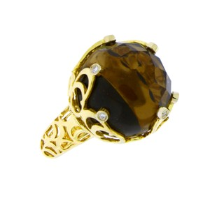 Chimento Chimento boule web diamond & smokey quartz ring in 18k yellow gold siz