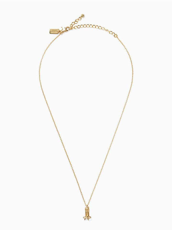 Kate spade gold 12k plated on pointe ballet slipper pendant necklace 1234 aloadofball Image collections
