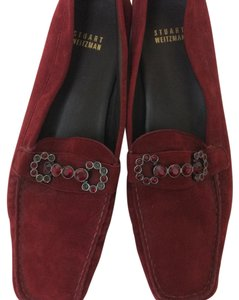 Stuart Weitzman Velvet Loafers Jewel Encrusted Easter Sale burgundy Flats