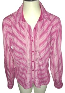 REI Button Down Shirt pink and white