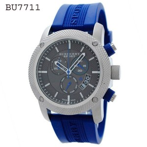 Burberry New Burberry Endurance Blue Rubber Chronograph Men's Watch BU7711