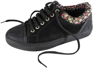 Chanel Leather Suede Tweed Sneakers Black Athletic