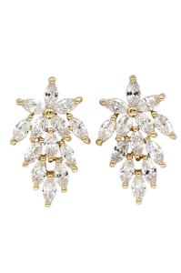 Ocean Fashion Shiny crystal maple leaves gold earrings