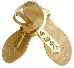 Coach Jelly Phils Size 6 Gold Sandals