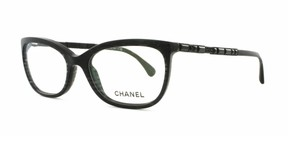 Chanel NEW Rectangular Bijou Eyeglasses CH 3305B c. 1443 Black Glitter 54mm
