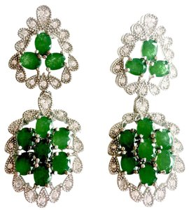 Other Genuine Emerald and Topaz Sterling Silver Dangle Earrings