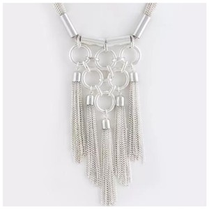 Other Silver Circle Tassel Necklace Set D25