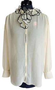 See by Chloé Chloe White Organza Flowers Top Winter White