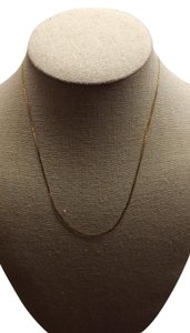 14K Gold Italy Thin Herringbone Necklace, Stamped 14K Gold Italy
