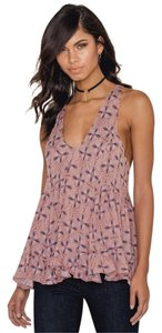 Free People Comfortable Top Pink Combo