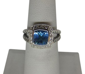 David Yurman size 6 Albion Petite Ring 7mm Blue Topaz With Pave Diamonds