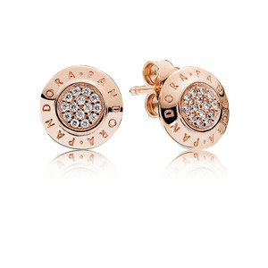 PANDORA PANDORA Signature Stud Earrings, PANDORA Rose & Clear CZ 280559CZ