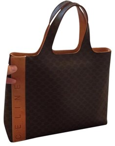 Céline Logo Handle Tote in Brown and tan