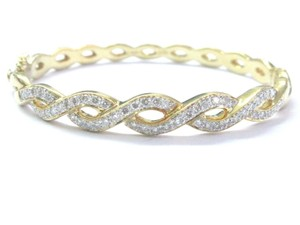 Other 18Kt Criss Cross Round Diamond Yellow Gold Bangle Bracelet 1.25Ct