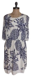 BEAUTIFULLY short dress IVORY NAVY Pineapple Silk Boxy Spring Summer on Tradesy