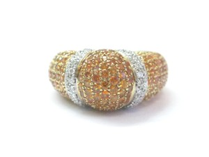 salavetti Salavetti 18Kt Gem Orange Sapphire Diamond Pave Yellow Gold Dome Ring