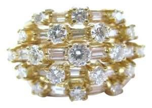 Other 18Kt Round & Baguette Diamond Cluster 5-Row Jewelry Ring 1.95CT