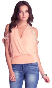 bebe Cold Embellished Draped Cut Out Top NWT Peach