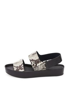 Vince Platform Wedge Strappy Black and White Snake Sandals