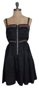 Free People Contrast Front Zipper Acetate Cocktail Dress