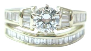 Other Fine Round & Baguette Diamond Solitaire W Accent Yellow Gold Engagemen