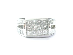 Other 18Kt Princess Cut Diamond Invisible Setting White Gold Jewelry Ring 2.