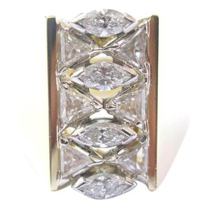 Other 18Kt Marquise & Trillion Cut Diamond Cluster YellowGold WIDE Jewelry R