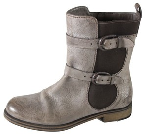 Henry Beguelin Ardesia Leather Buckle Mid-calf Taupe Boots