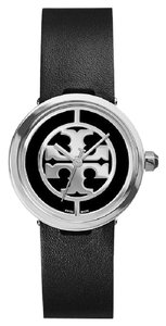 Tory Burch $300 NWT Tory Burch Reva Black Leather Logo Dial Watch TRB4002